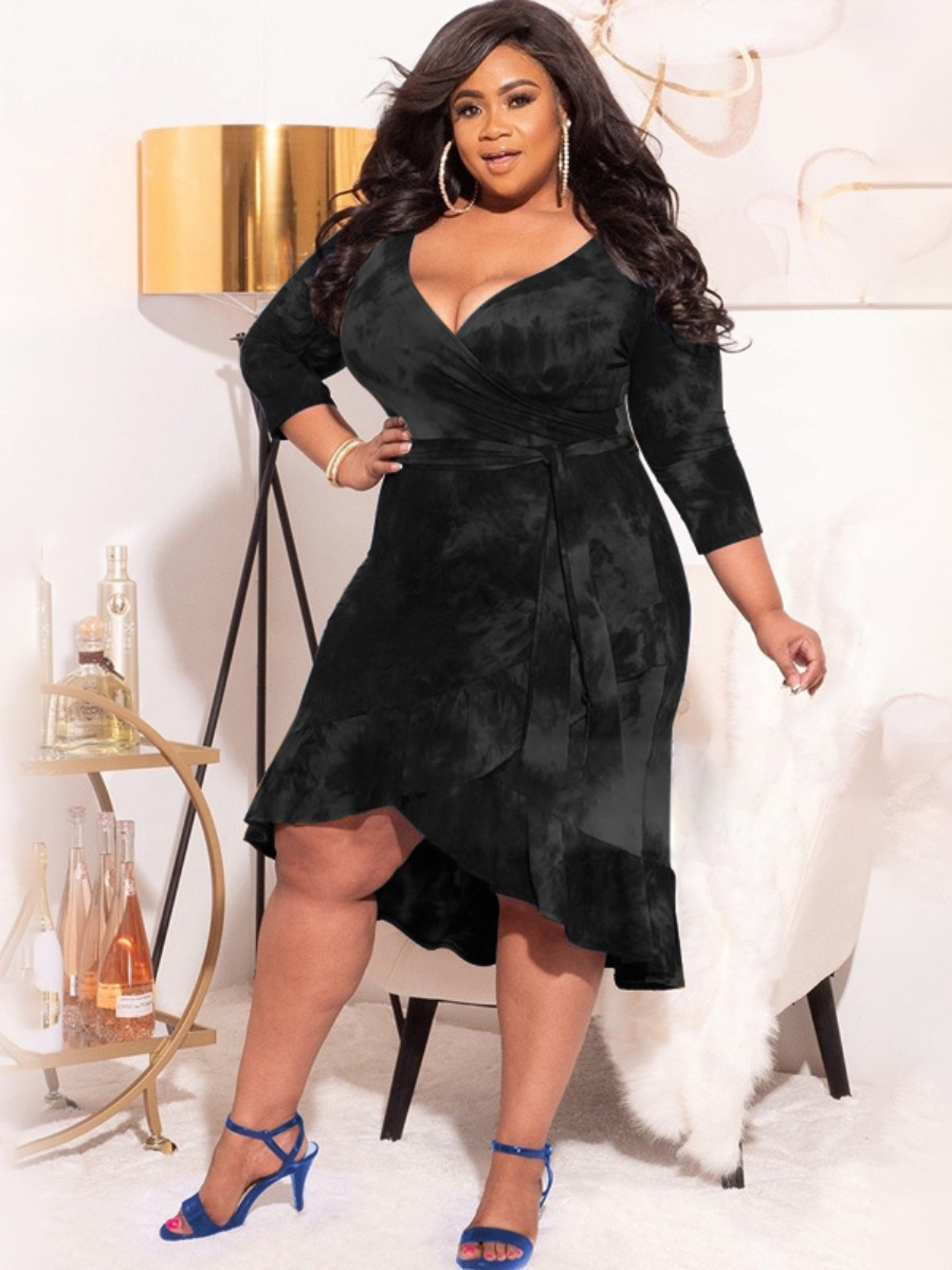Lovely Plus Size Casual Bandage Flounce Design Black Knee Length Dress