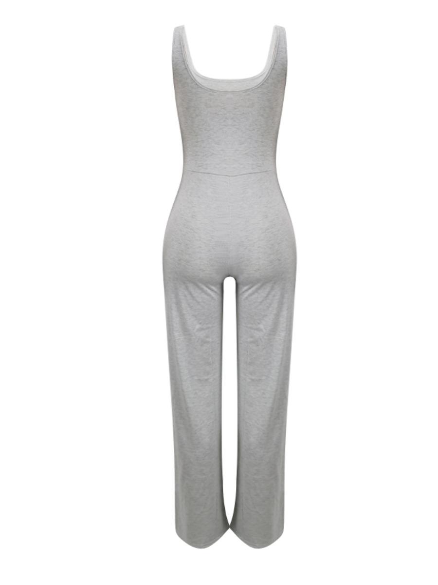 LW BASIC Casual U Neck Elastic Grey One-piece Jumpsuit