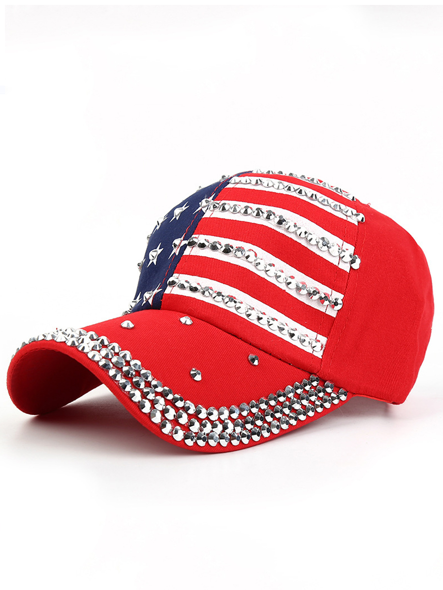 LW Men Casual American Flag Independence Day Red Hat
