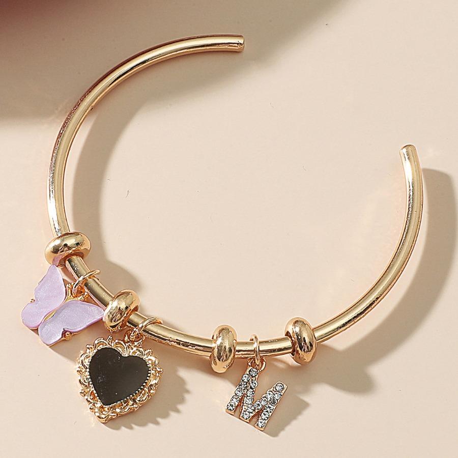 Lovely Boho Butterfly Letter Decoration Gold Bracelet