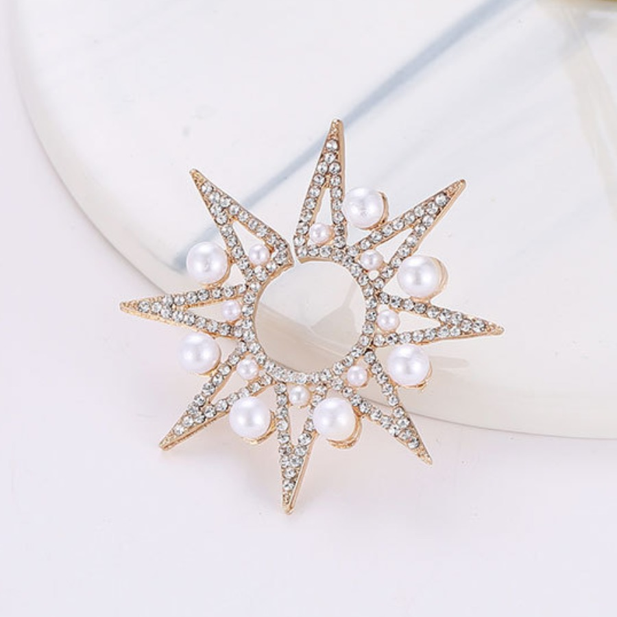Lovely Sweet Star Pearl Decoration Gold Earring