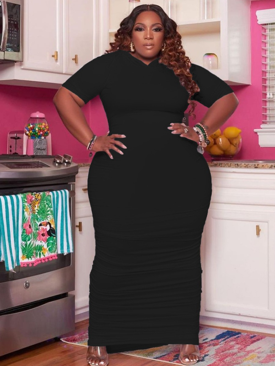 LW Plus Size Casual Round Neck Ruched Black Ankle Length Dress