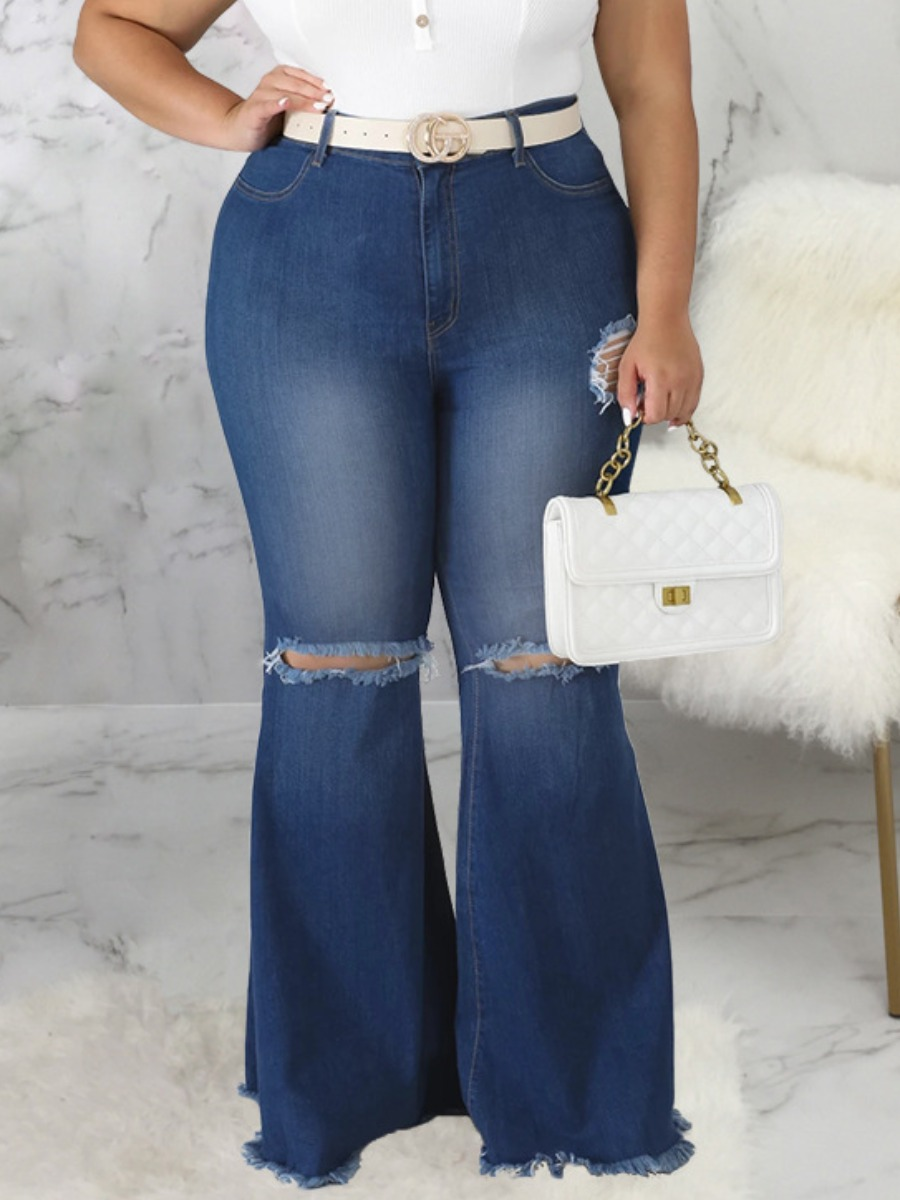 LW Plus Size Street Ripped Flared Deep Blue Jeans