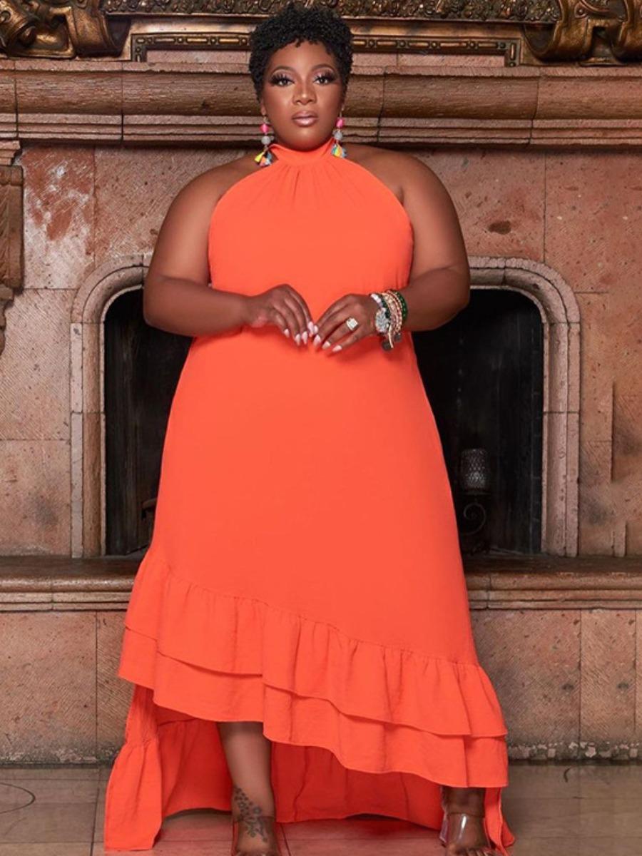 LW Plus Size Casual Flounce Design Jacinth Floor Length Asymmetrical Dress