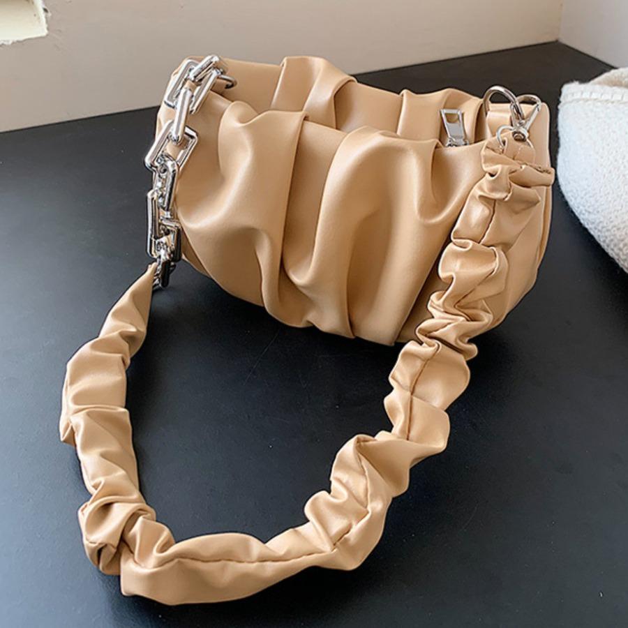 Lovely Casual Fold Design Khaki Shoulder Bag