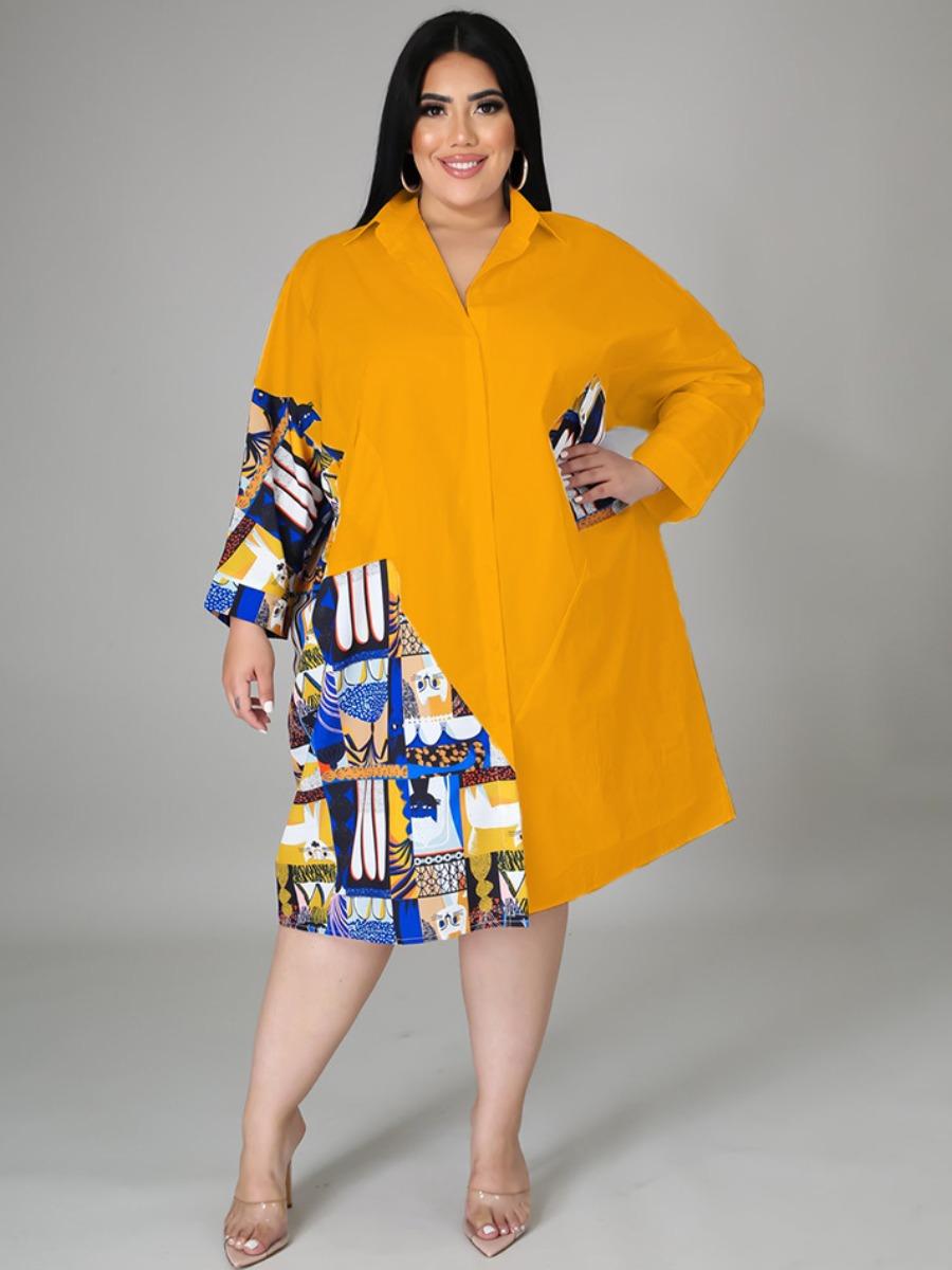 LW Plus Size Color-lump Patchwork Shirt Dress