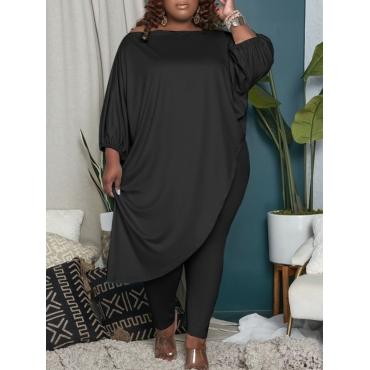 LW COTTON Plus Size Casual Off The Shoulder Asymmetrical Black Two-piece Pants Set