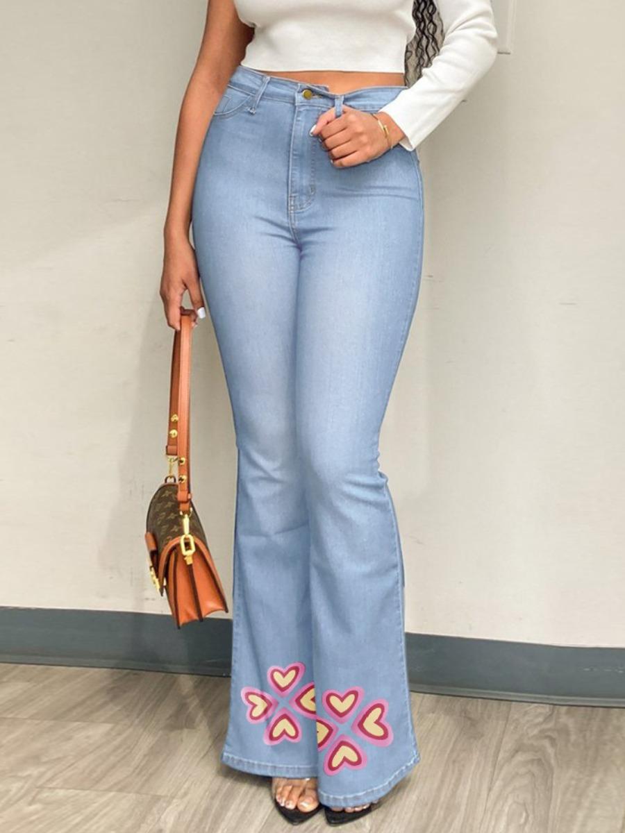 LW High-waisted Heart Print Flared Jeans