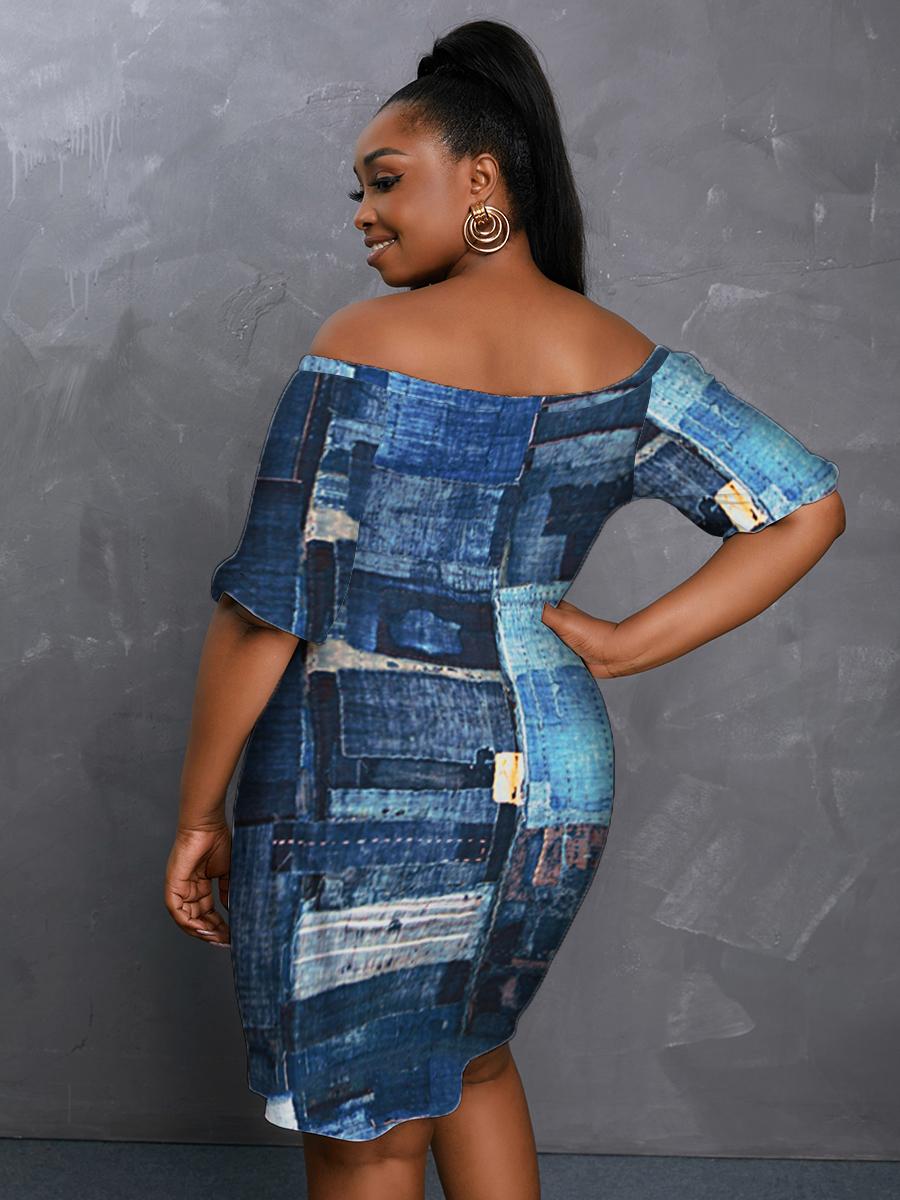 LW BASICS Plus Size Off The Shoulder Patchwork Dress