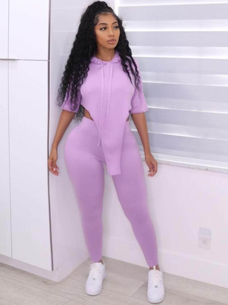 LW Plus Size Hooded Collar Asymmetrical Two-piece Pants Set