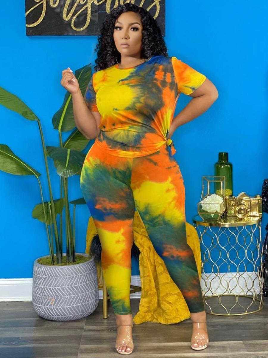 LW Plus Size Round Neck Tie-dye Two-piece Pants Set
