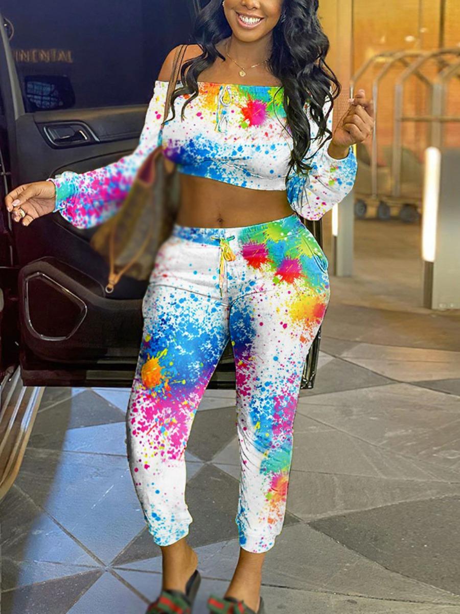LW Off The Shoulder Splash-ink Design Two Piece Pants Set