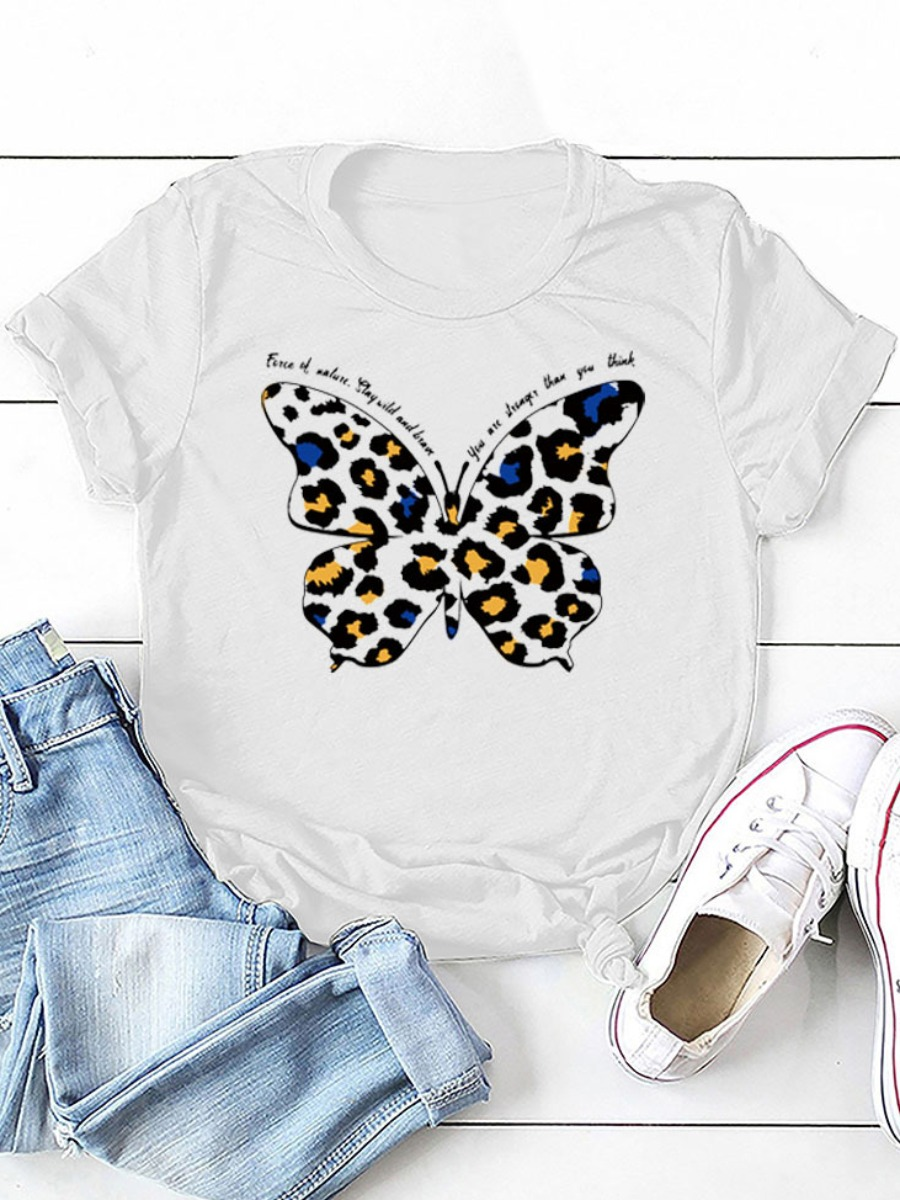Lovely Round Neck Butterfly Print T-shirt