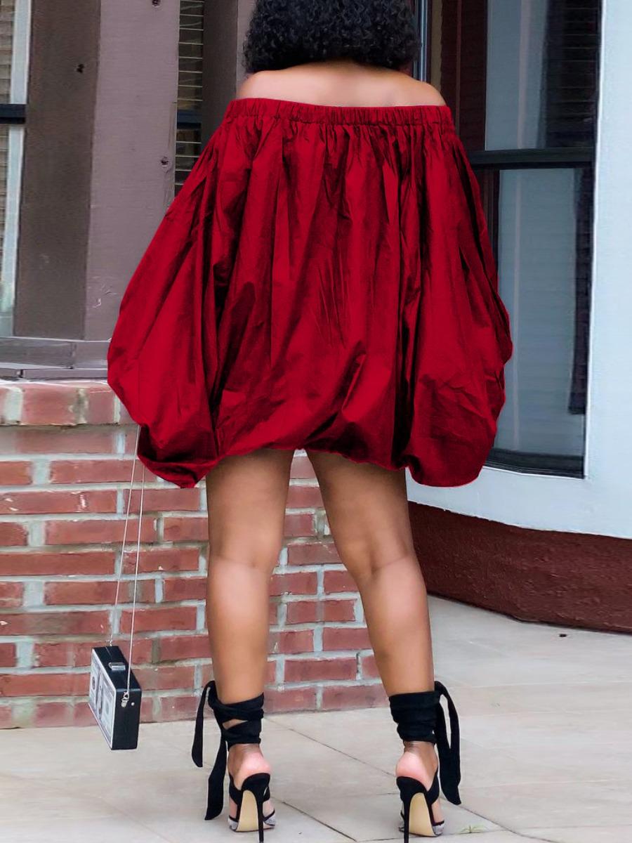 Lovely Plus Size Off The Shoulder Fold Design Dress