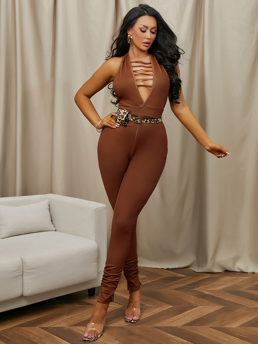 LW Backless Rib-Knit One-piece Jumpsuit