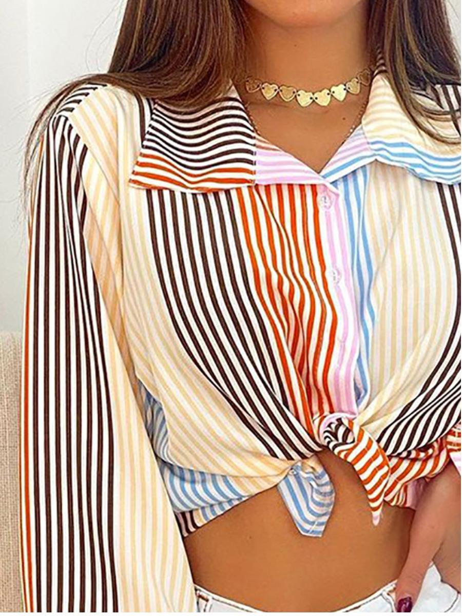 Lovely Turndown Collar Striped Blouse