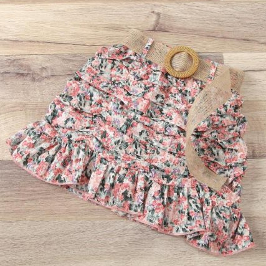 LW COTTON Girl  Material Series Floral Print Shirred Skirt Set