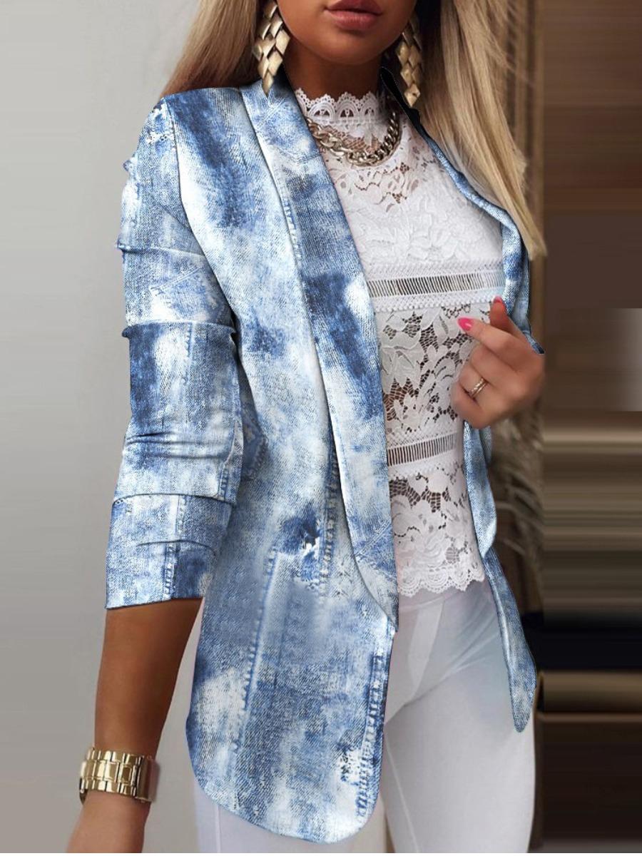 LW BASICS Tie-dye Button Design Blazer