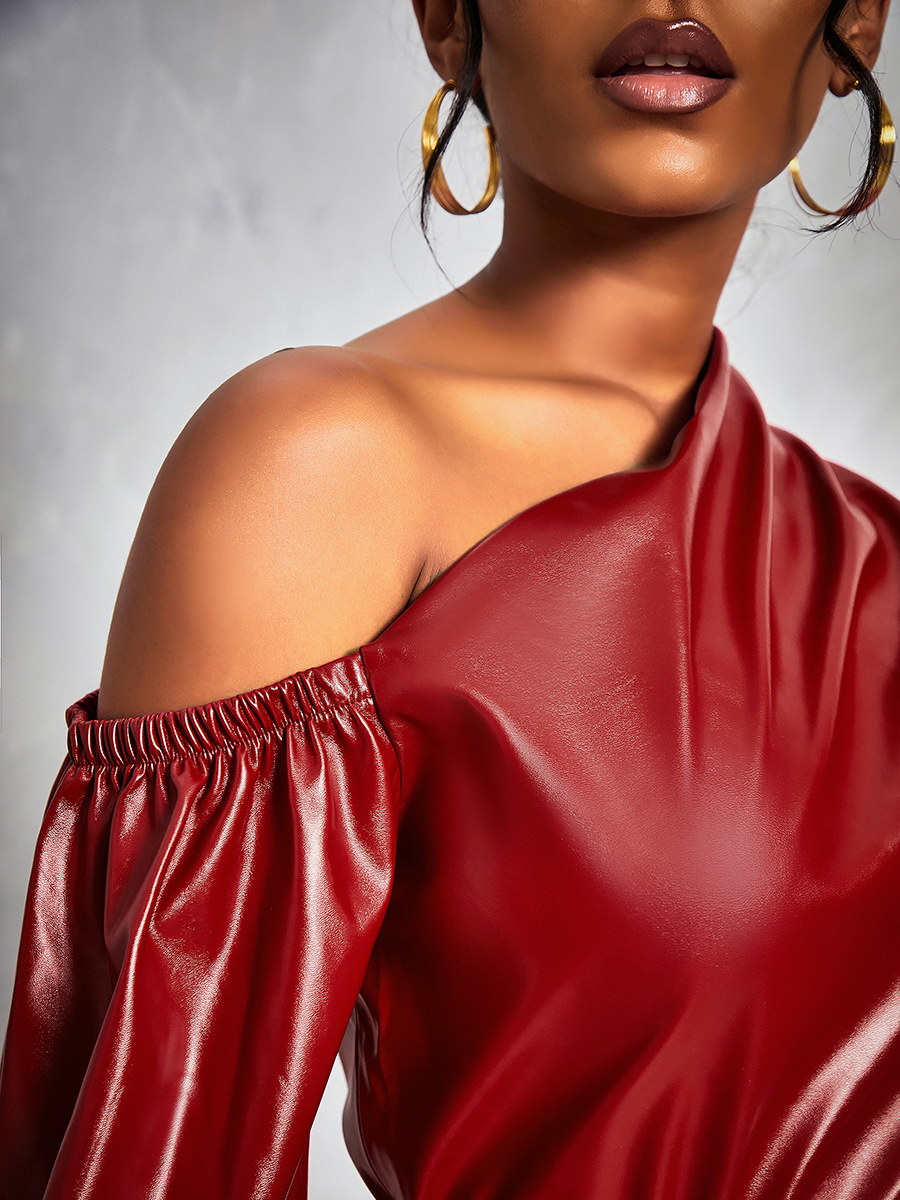 Lovely Trendy One Shoulder Wine Red Blouse