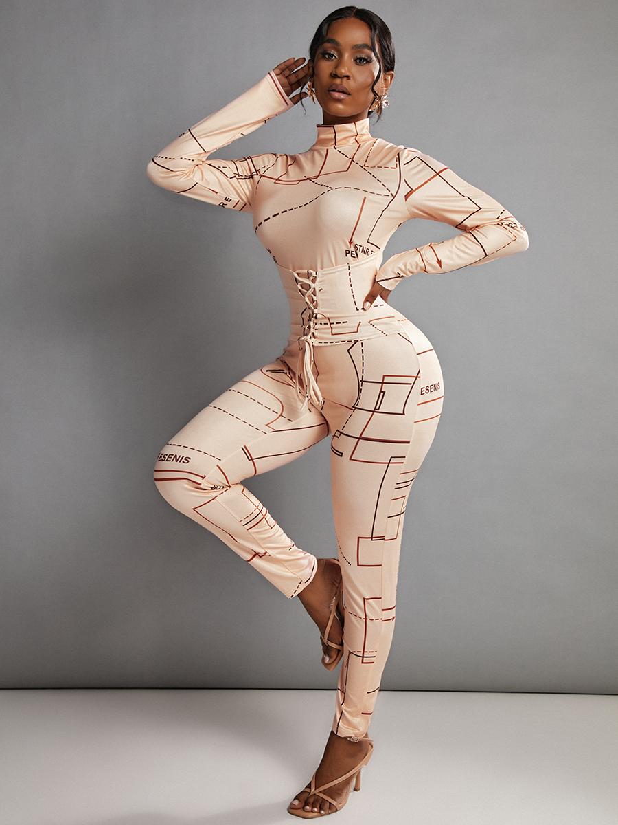 LW Letter Print Bandage Design Jumpsuit