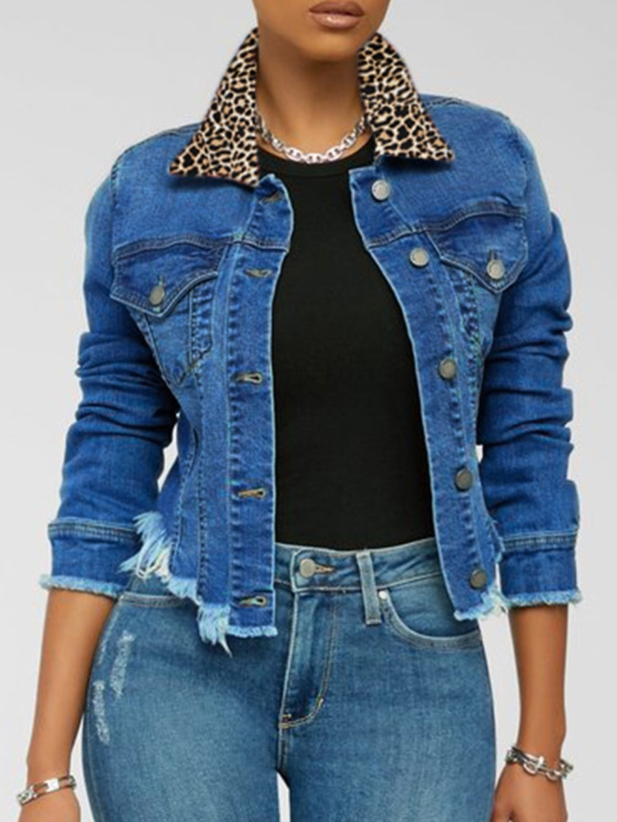 LW Button Design Raw Edge Denim Jacket