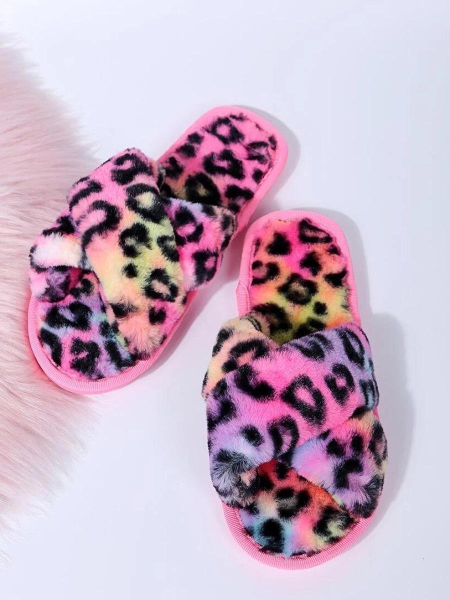 Lovely Leopard Decoration Plush Slippers