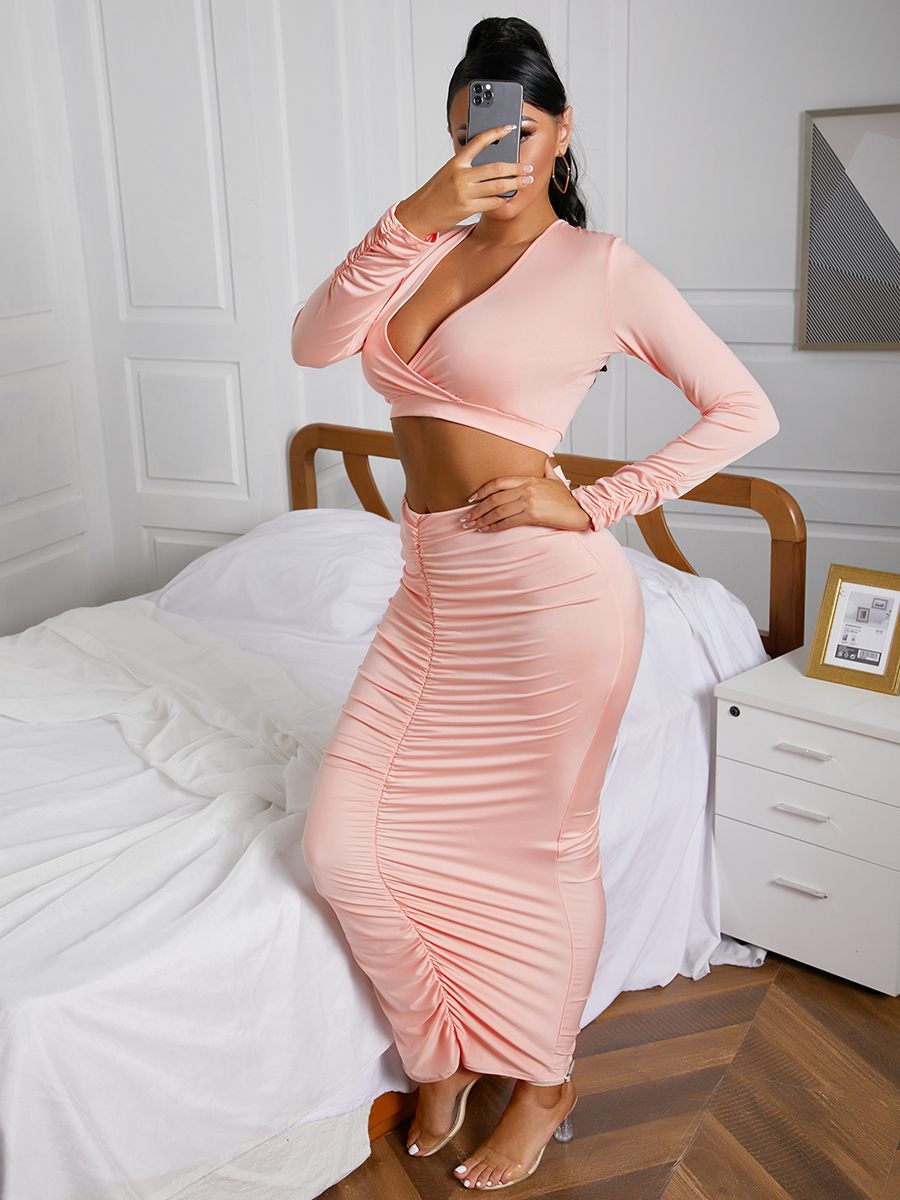 LW SXY Ruched Crop Top Skirt Set (Without Waist Chain)