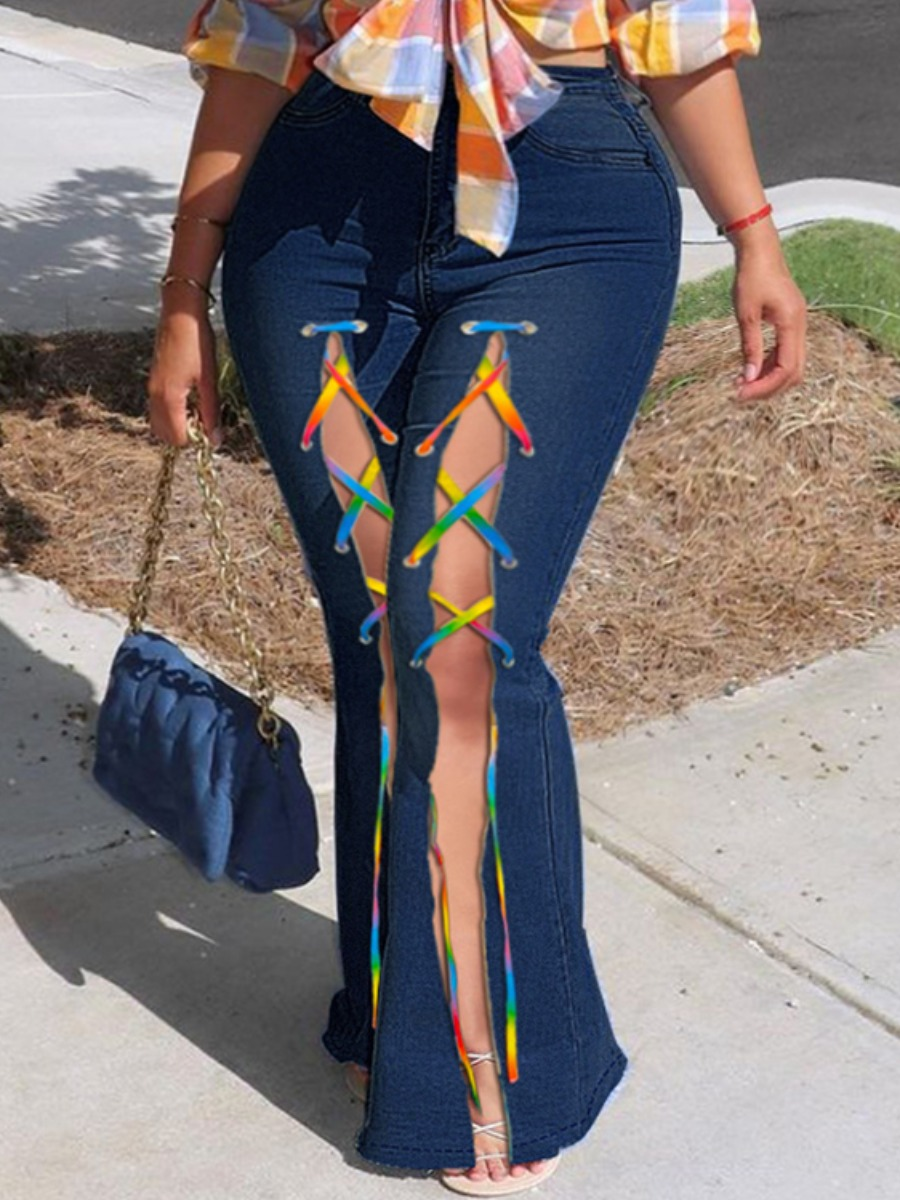 LW Plus Size Mid Waist Flared Bandage Split Design Jeans