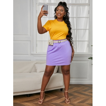 LW COTTON Plus Size Round Neck High-waisted Two-piece Skirt Set