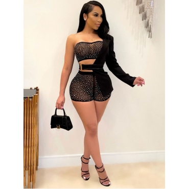 LW SXY Sequined See-through Three Piece Shorts Set