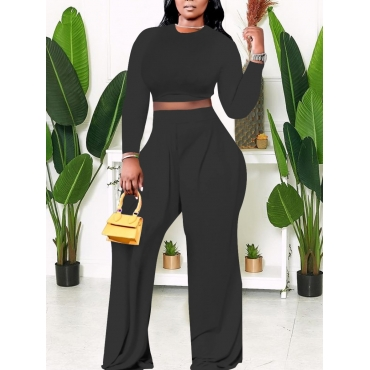 LW BASICS Plus Size Wide Leg Crop Top Pants Set