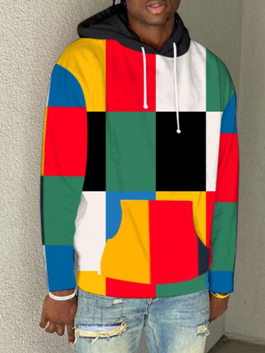 LW Men Color-lump Patchwork Oversized Hoodie
