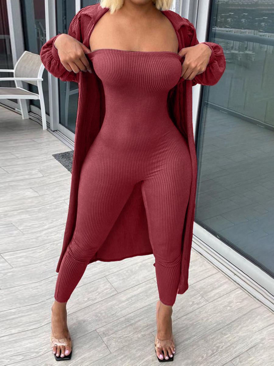 LW Off The Shoulder Basic Skinny Jumpsuit Set (With Cardigon)