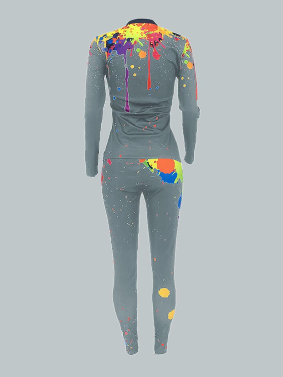 Lovely Plus Size Casual Graffiti Print Zipper Design Grey Two-piece Pants Set