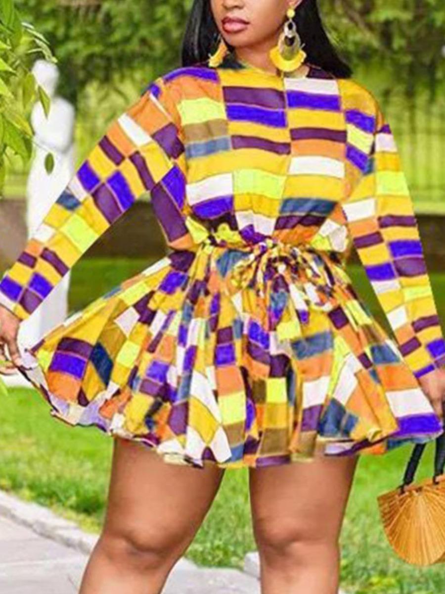 LW Plus Size Plaid Print Bandage Design A Line Dress