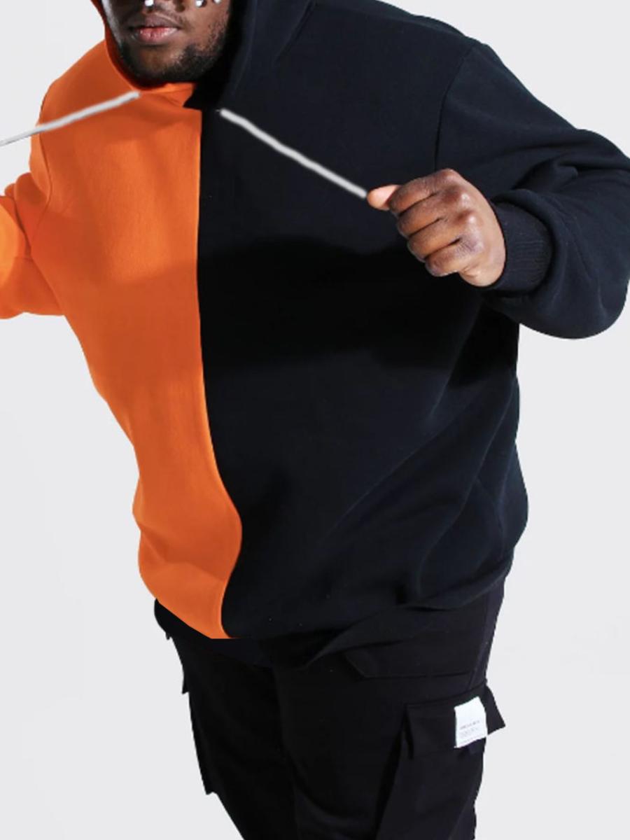 LW Men Color-lump Kangaroo Pocket Oversized Hoodie