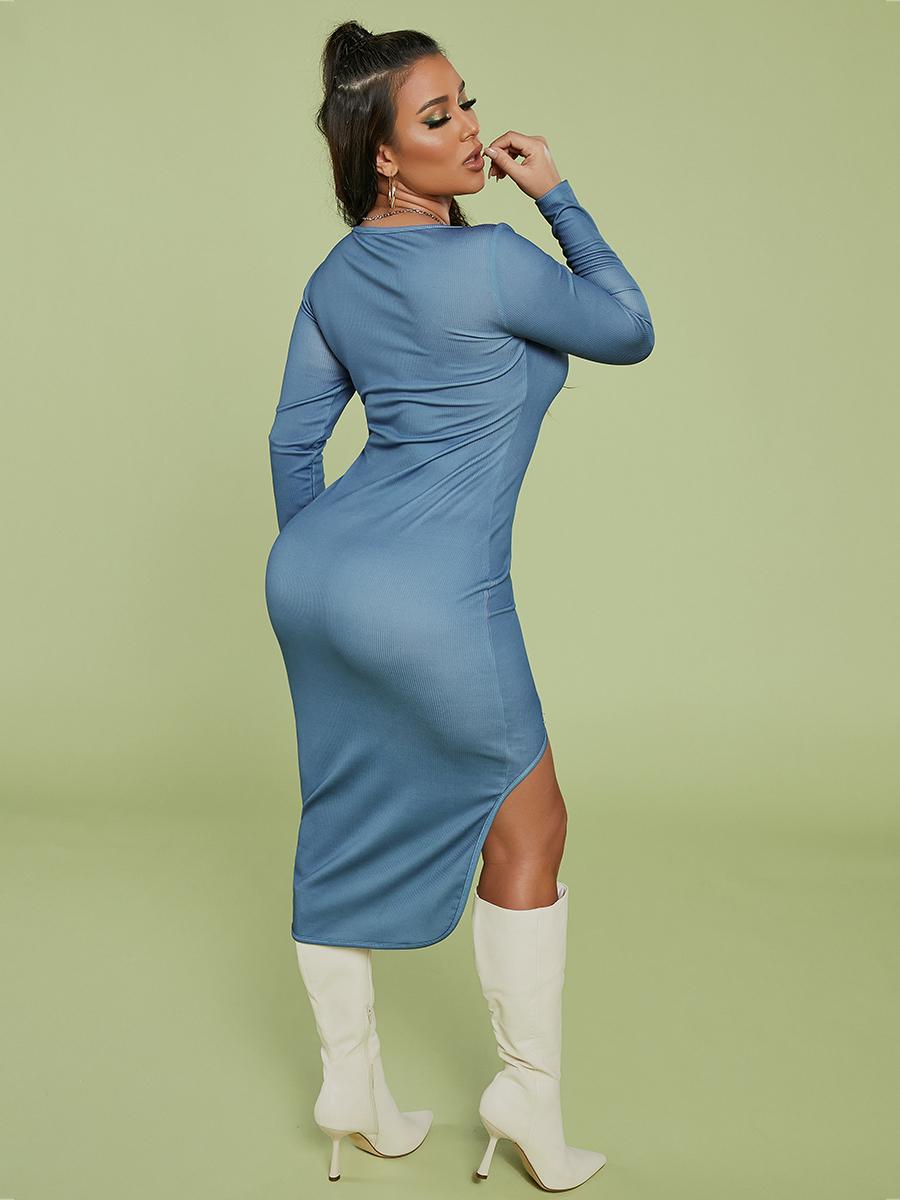 LW U Neck Slit Bodycon Dress
