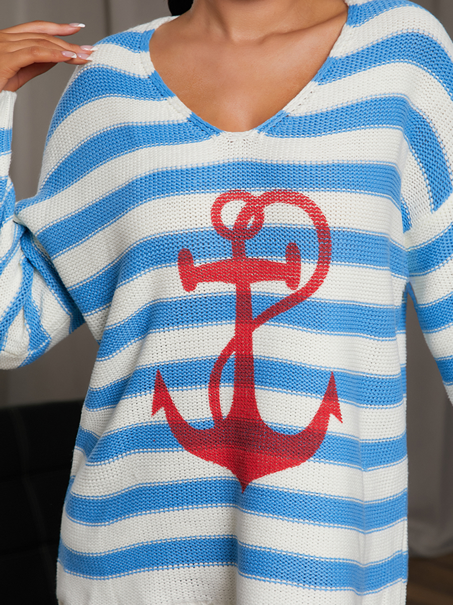 LW V Neck Striped Sweater