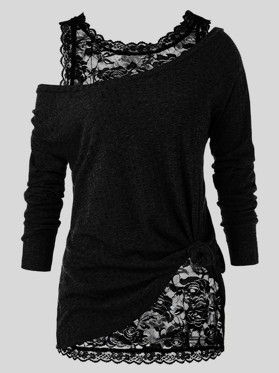 LW Plus Size See-through Floral Decoration Two-piece T-shirt