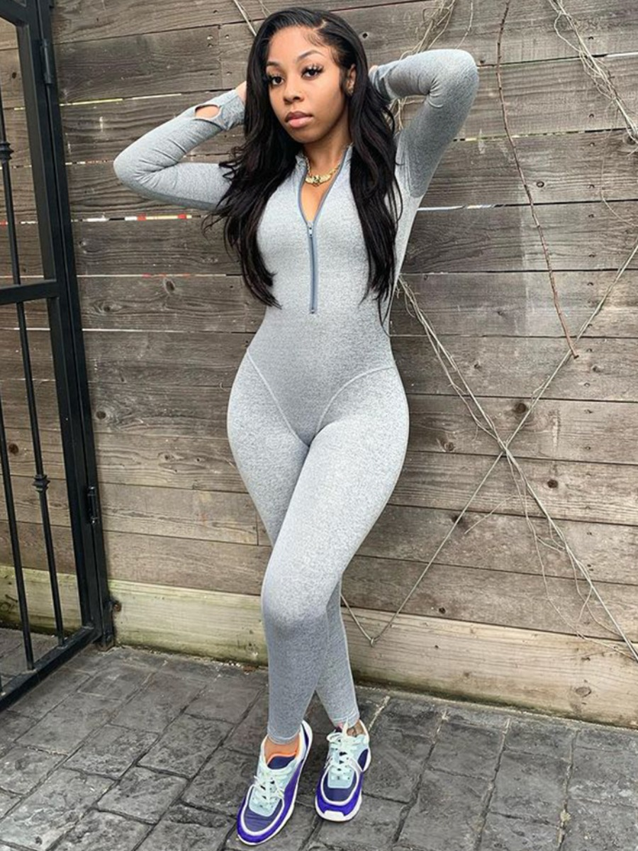 LW Zipper Design Basic Skinny Jumpsuit