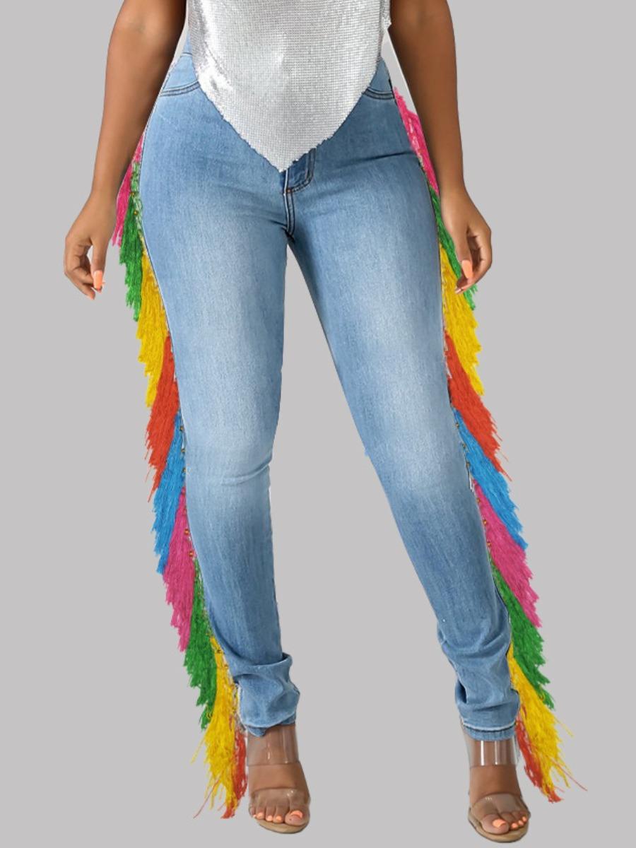 LW Tassel Design Patchwork Jeans