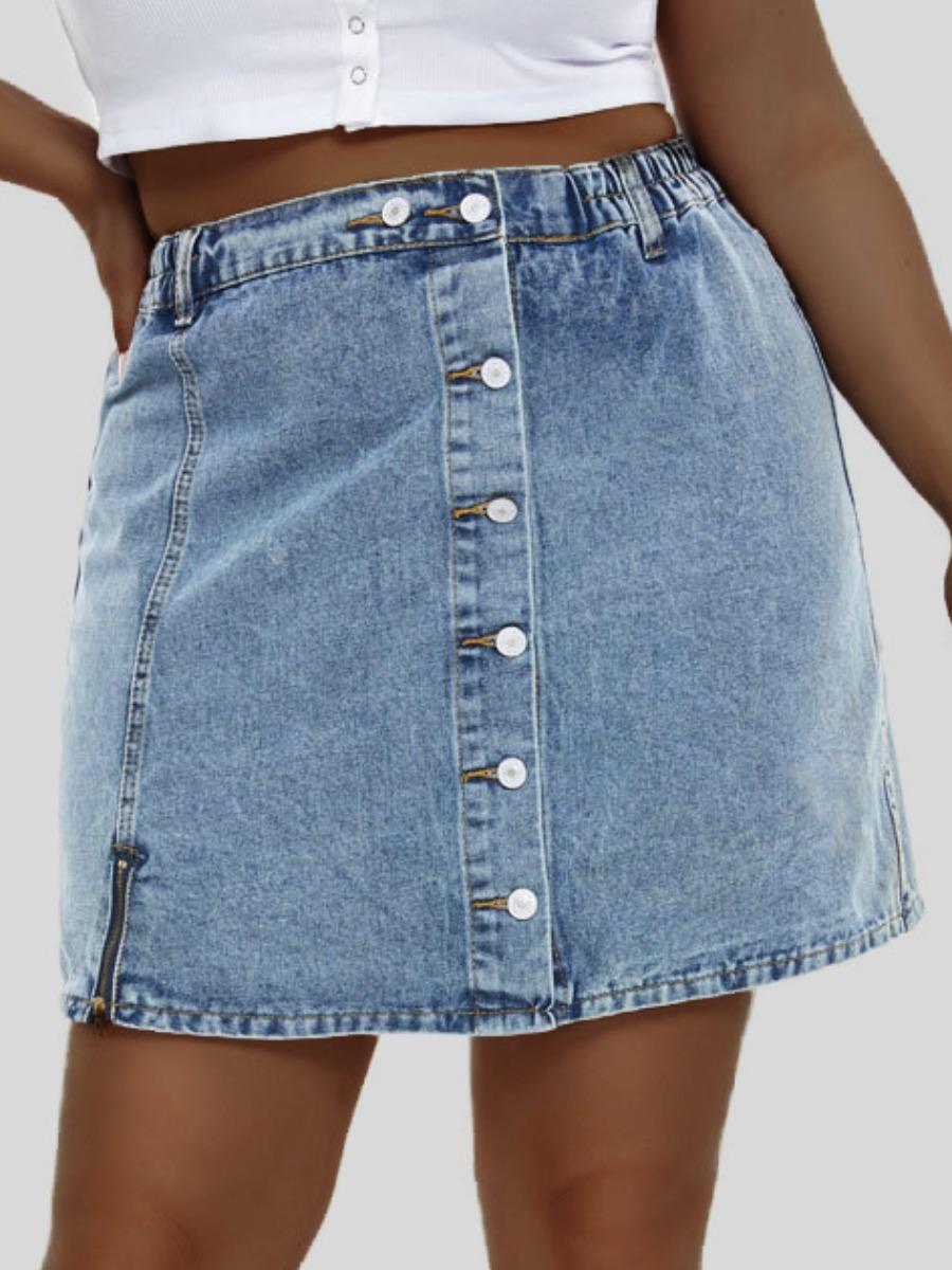 LW Plus Size Zipper Button Design Denim Skirt
