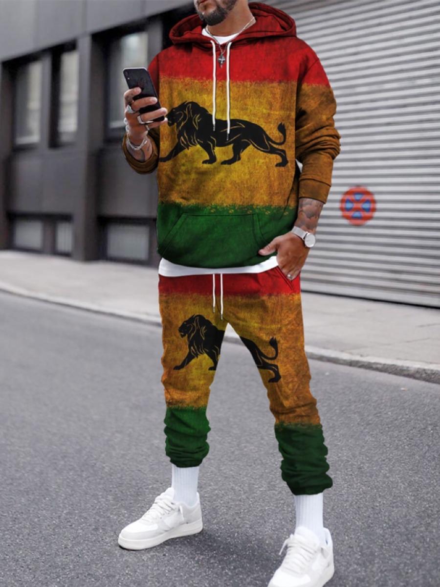 LW Men Lion Print Oversized Sweatsuit Set