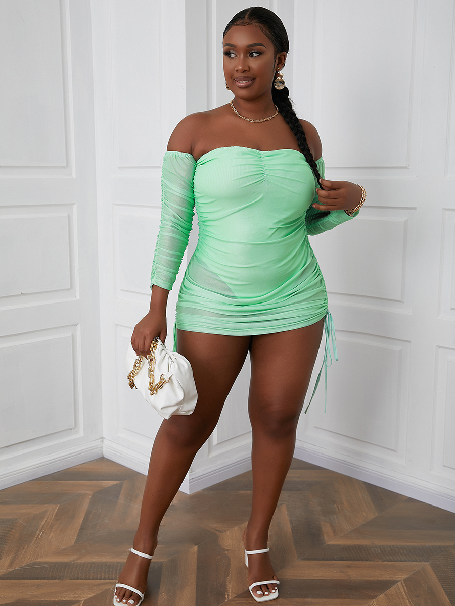 LW Plus Size Off The Shoulder See-through Bodycon Dress