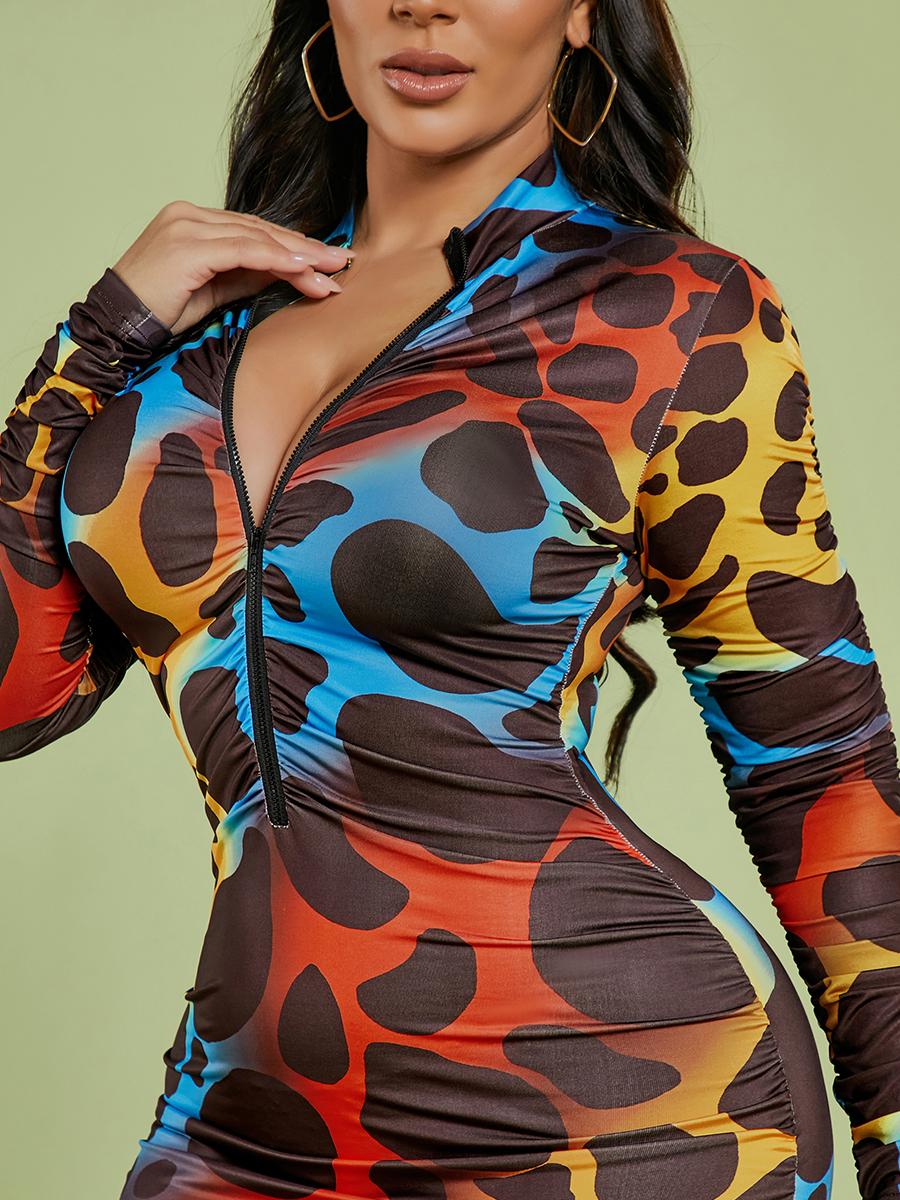 Lovely Gradient Animal Print Dress