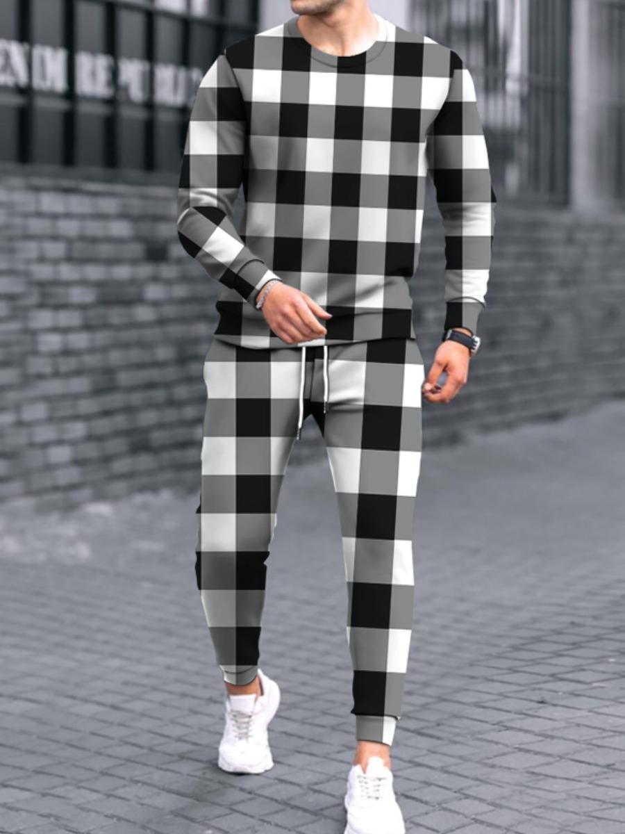 Lovely Men Plaid Print Drawstring Pants Set
