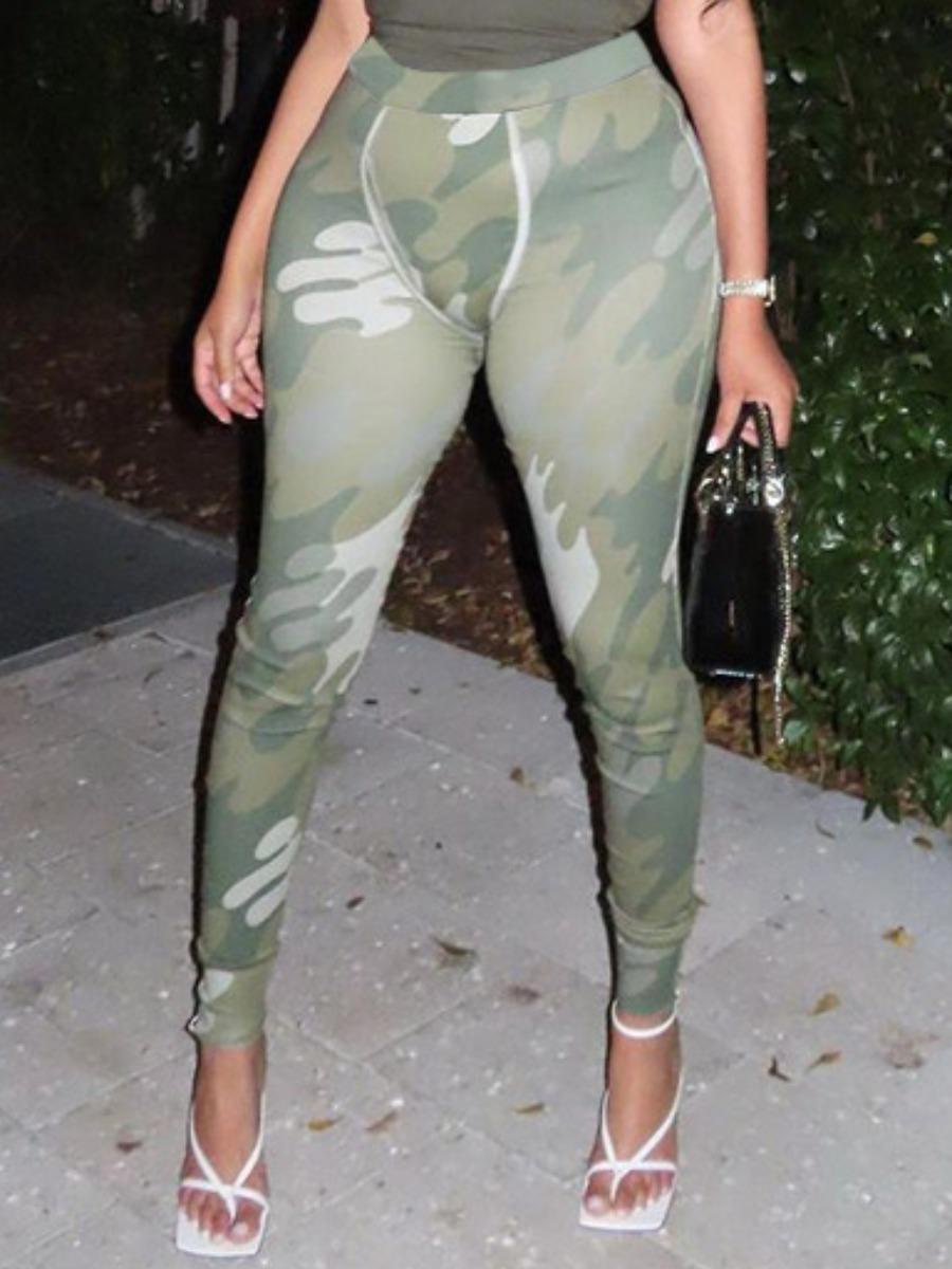 LW Camo Print Basic Skinny Leggings