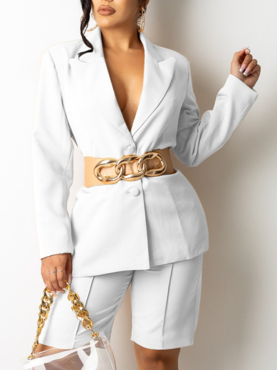 LW Turndown Collar Button Design Blazer Short Set (Without Belt)
