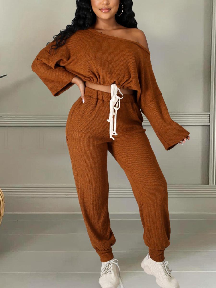 LW Oblique Drawstring Loose Pants Set