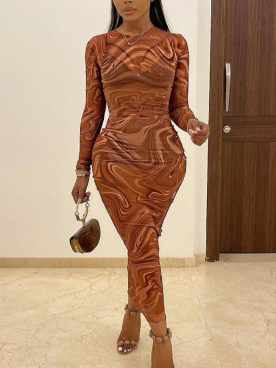 LW SXY Whirlpool Print See-through Bodycon Dress